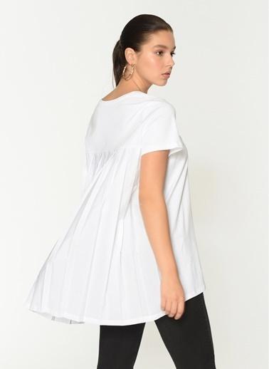 Loves You Arkası Piliseli A Shape Bluz Beyaz